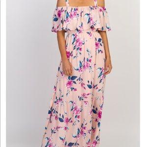 Floral Ruffle Open Shoulder Maternity Maxi Dress